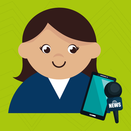 woman smartphone: woman news smartphone reportage vector illustration Stock Photo