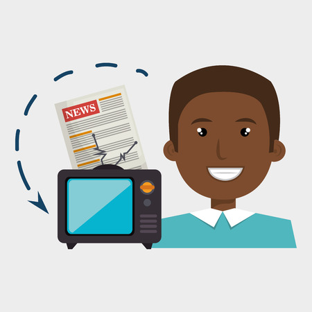 newsreader: man tv reportage news vector illustration