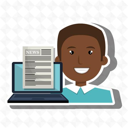 mens nieuws laptop rapport vector illustratie