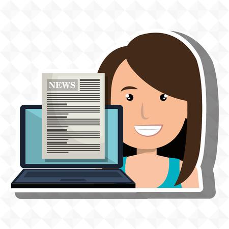 vrouw nieuws laptop rapport vector illustratie Vector Illustratie