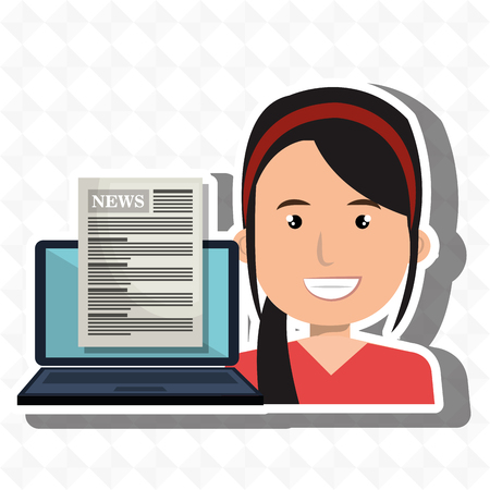 woman laptop: woman news laptop report vector illustration Illustration