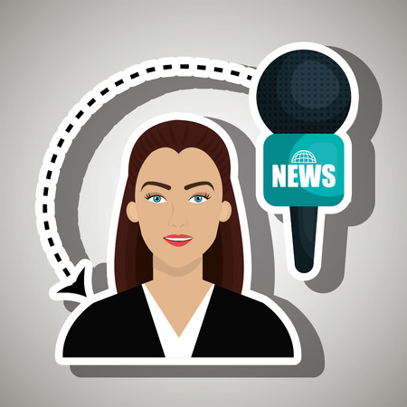 versatile: woman journalist news microphone vector illustration