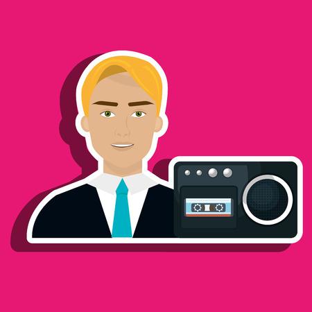 grabadora: man voice recorder news vector illustration