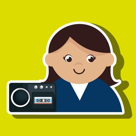 grabadora: grabadora de voz de la mujer ilustración vectorial de noticias
