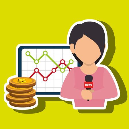 woman rating news money vector illustration