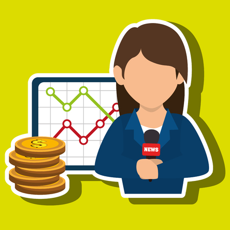 taking notes: woman rating news money vector illustration