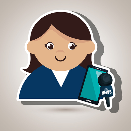 woman smartphone: woman news smartphone reportage vector illustration Illustration