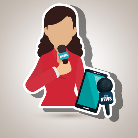 woman news smartphone reportage vector illustration Illustration