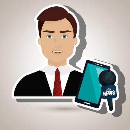 man news smartphone reportage vector illustration