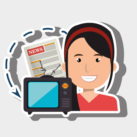 newsreader: woman tv reportage news vector illustration Illustration