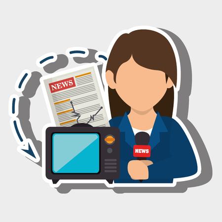 女性テレビ報道ニュース ベクトル図  イラスト・ベクター素材