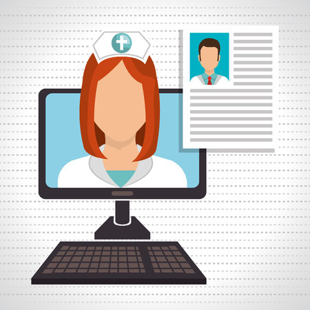 surgeons hat: nurse computer service health vector illustration