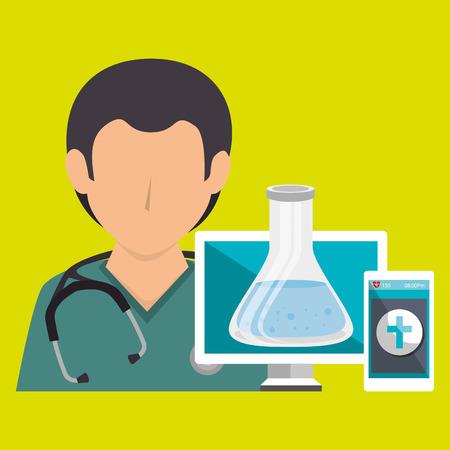 doctor with laptop: nurse doctor laptop medical vector illustration