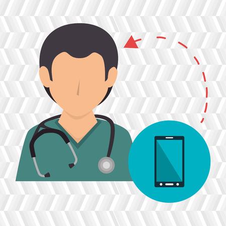 nurse stethoscope medical service vector illustration