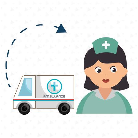 scribe: nurse cartoon ambulance help vector illustration