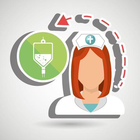 redhair: nurse health care service vector illustration