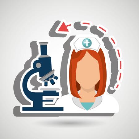 sick kind: nurse health care service vector illustration