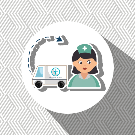 harm: nurse cartoon ambulance help vector illustration