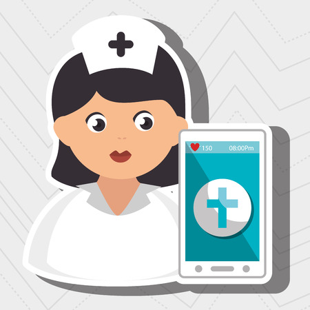 nurse stethoscope medical service vector illustration