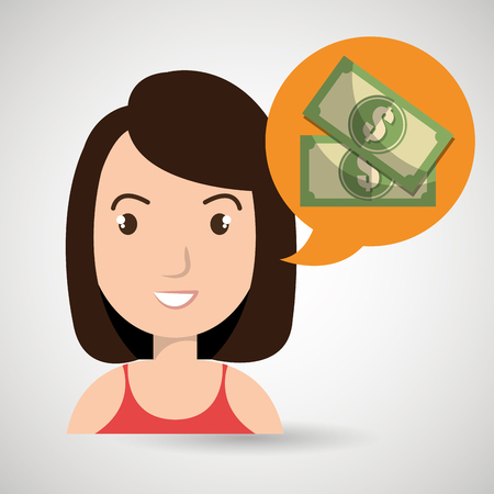 annuity: woman tax payment report vector illustration