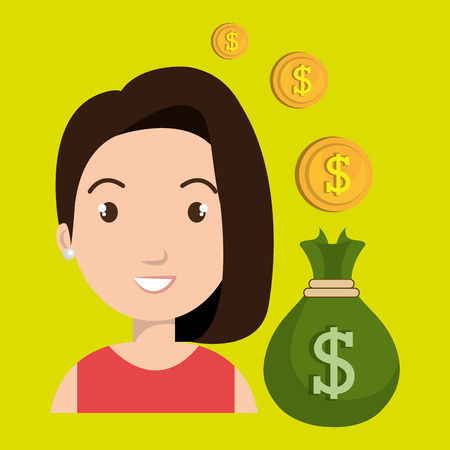 tied girl: woman bag money currency vector illustration
