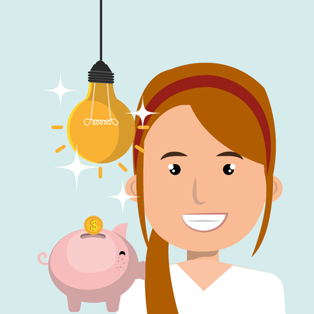 woman piggy coin idea vector illustration eps 10
