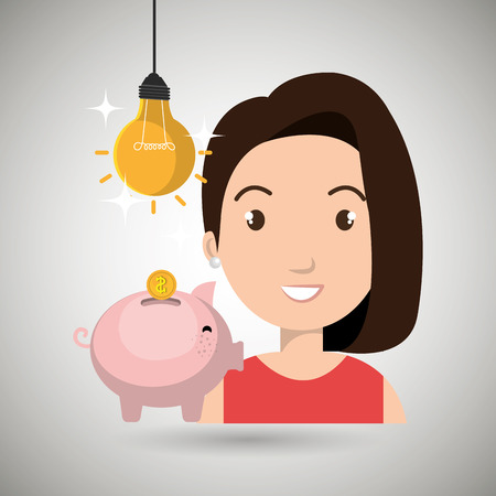 dept: woman piggy coin idea vector illustration eps 10