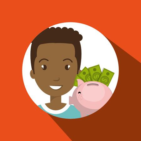 dept: man piggy coin idea vector illustration