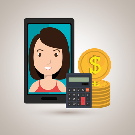 woman smartphone: smartphone woman money coins vector illustration
