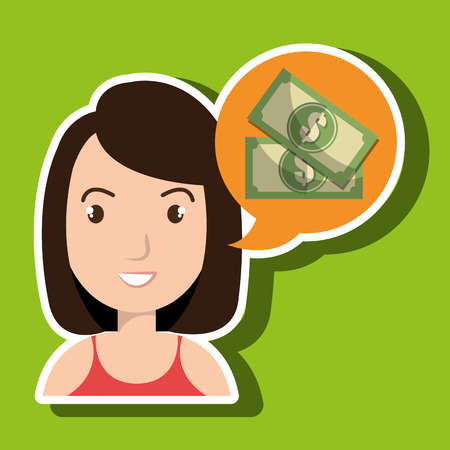 woman tax payment report vector illustration