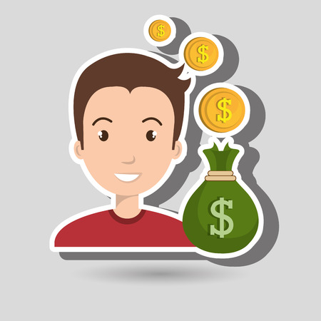 woman holding money: man bag money currency vector illustration