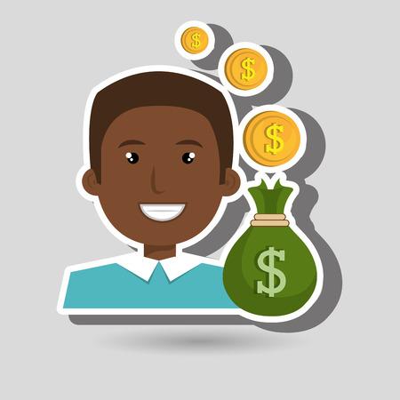 man bag money currency vector illustration