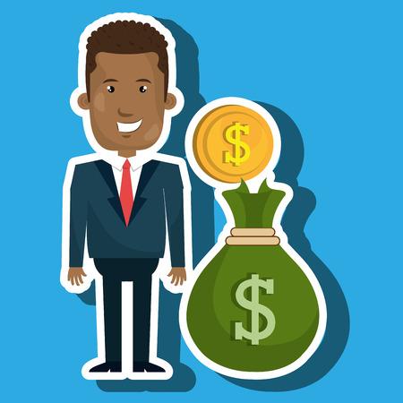 money wallet: man bag money currency vector illustration