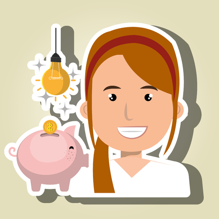 dept: woman piggy coin idea vector illustration