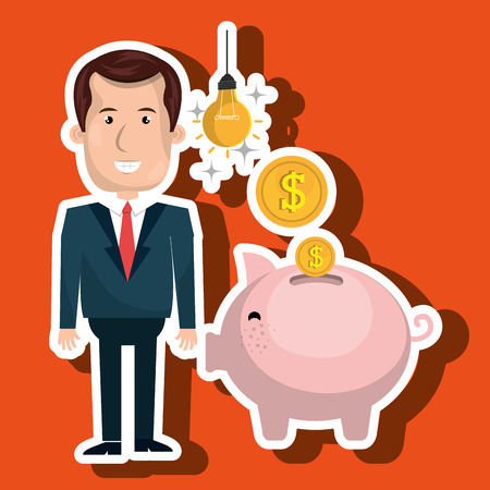 man piggy coin idea vector illustration
