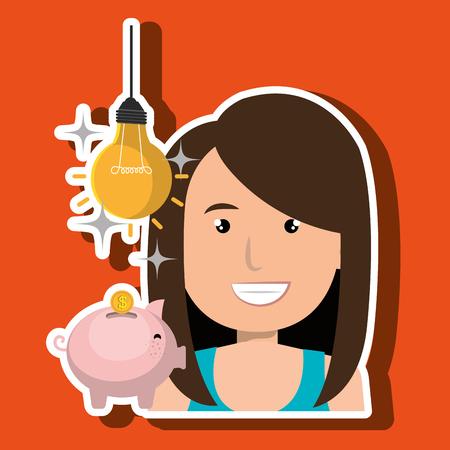 woman piggy coin idea vector illustration