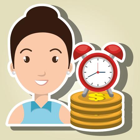 woman pile coin clock vector illustration Illustration