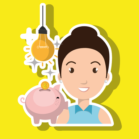 woman piggy coin idea vector illustration