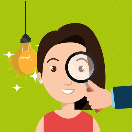 woman search idea think vector illustration
