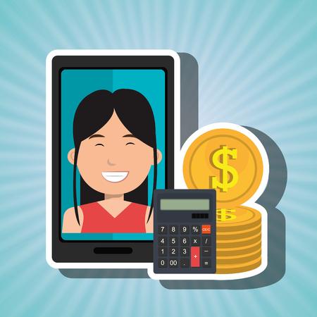 smartphone woman money coins vector illustration