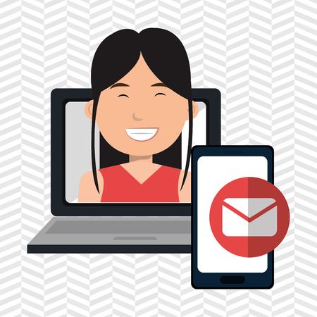 lettre: woman laptop smartphone social vector illustration eps 10