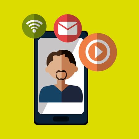 basic letters: avatar smartphone play vector illustration eps 10