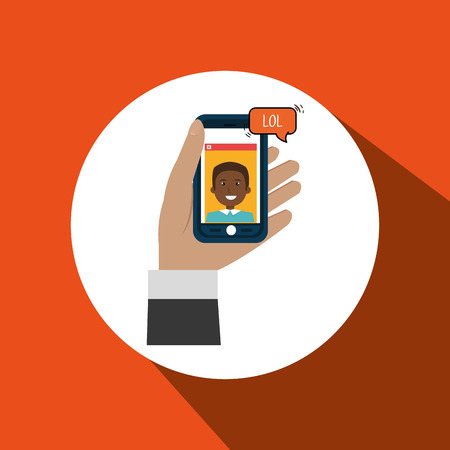 hold: hand hold smartphone icon vector illustration eps 10
