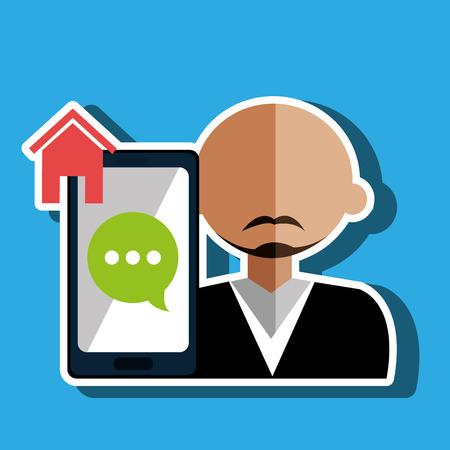 basic letters: avatar smartphone play chat vector illustration eps 10 Illustration