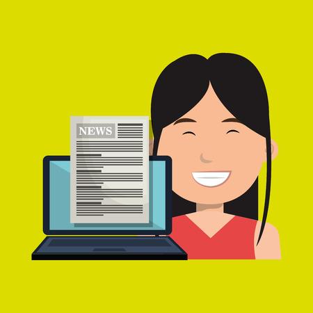 vrouw nieuws laptop rapport vector illustratie