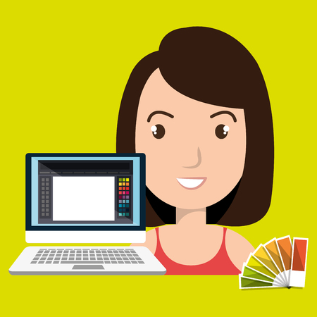 woman chart color pc vector illustration Illustration