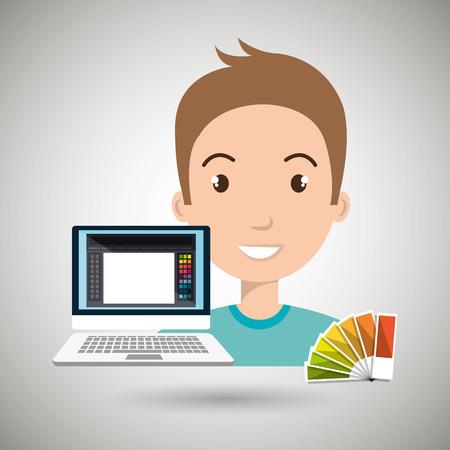 color chart: man computer color chart Illustration