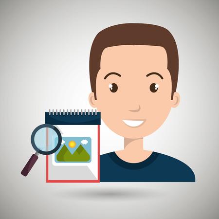 man images album search vector illustration