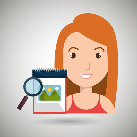 using senses: woman images album search vector illustration esp 10 Illustration