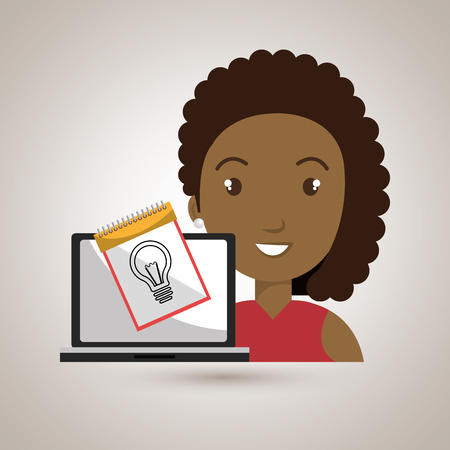 woman laptop creative innovation vector illustration